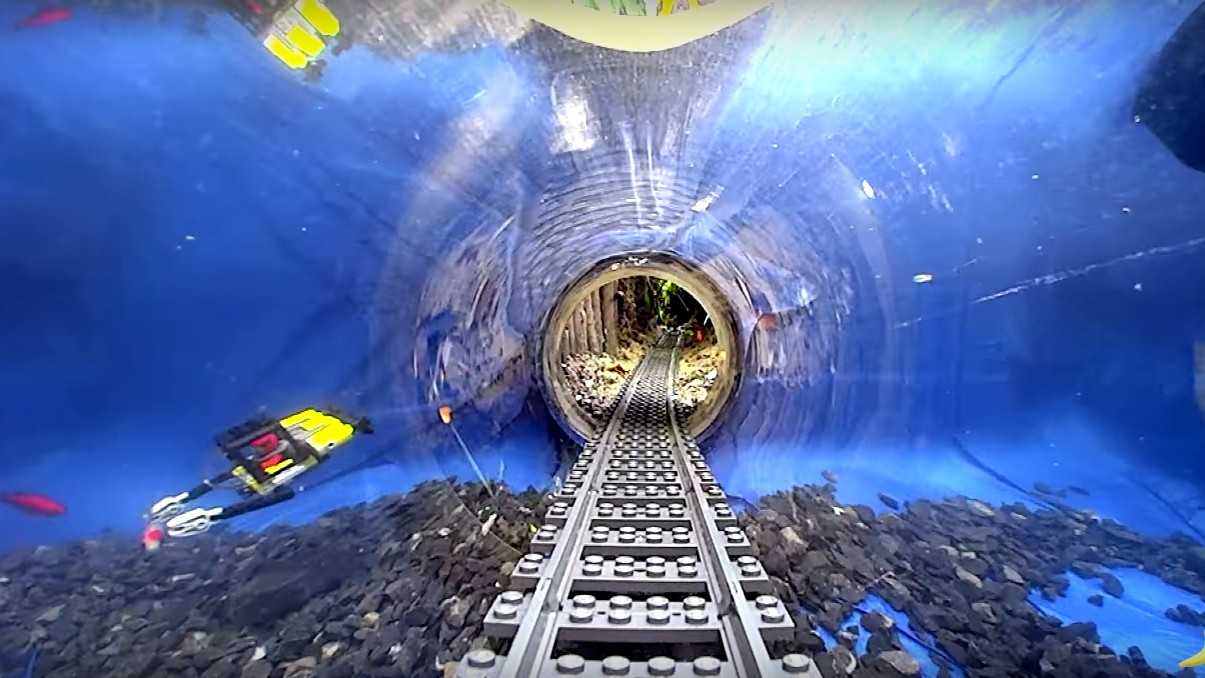 Behold a Lego Train Traveling Through a Homemade Underwater Tunnel