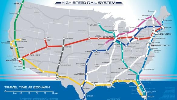 Here's a Map of America's High Speed Rail System in the Year Two Thousand and Never