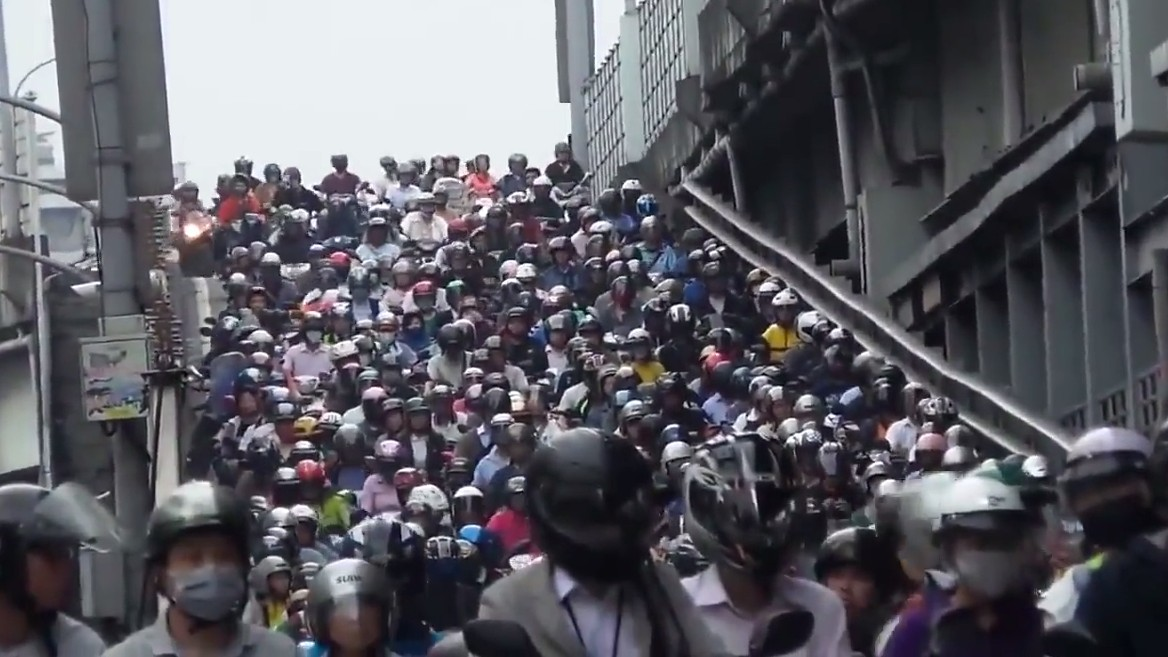 The Mesmerizing Calm of a Massive Taiwanese Scooter Traffic Jam