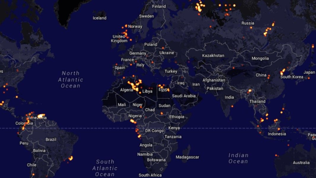 Watch Fracking Gas Flares Light Up the Earth at Night