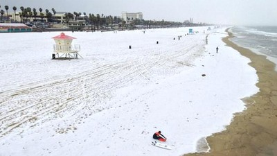 Watch a Hailstorm Turn a California Beach Into a Winter Wonderland