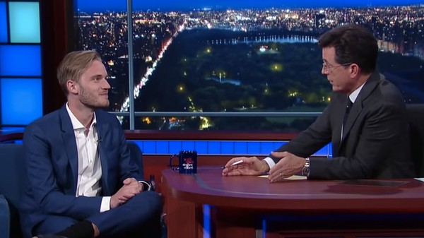 Colbert Interviews YouTube Star PewDiePie and Learns to Curse in Swedish