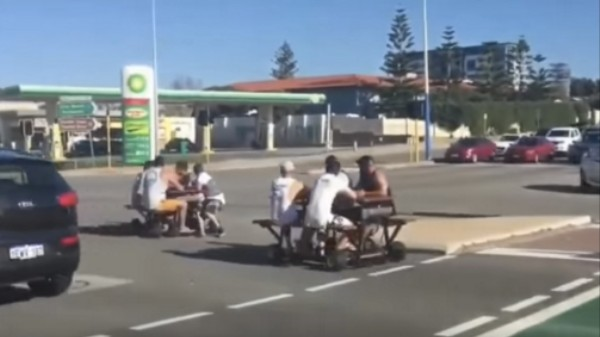 Australian Police Are Actively Trying to Arrest Motorized Picnic Table Riders