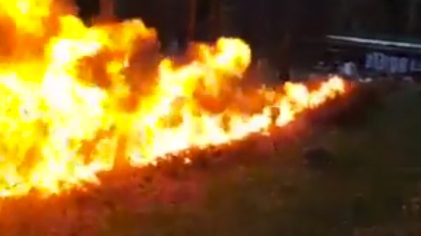 Watch This Giant Pile of Leaves Explode