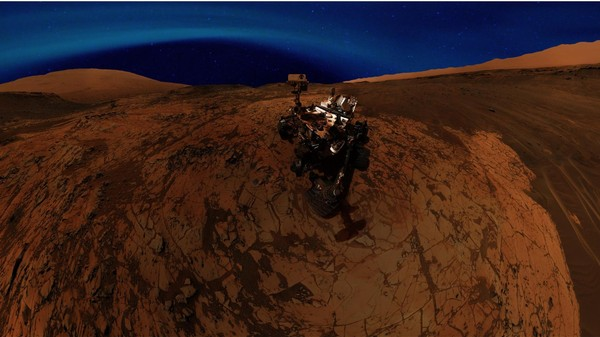 ​On Mars, a Brilliant Blue Aurora Colors the Night Sky