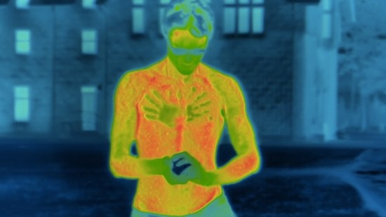 Two Long Shirtless Minutes in the Snow Through the Lens of an Infrared Camera
