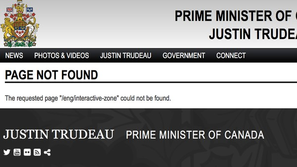The Trudeau Government Took Flash Games Off the Prime Minister Website
