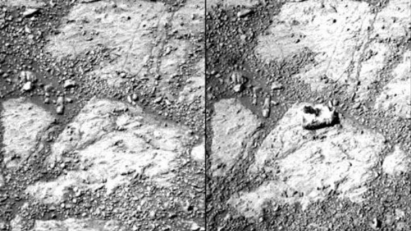 The Case of the Opportunity Rover and the Mysteriously Appearing Martian Rock