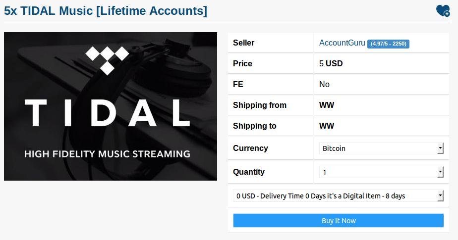 Tidal Accounts Are Being Sold for $1 on the Dark Web - VICE