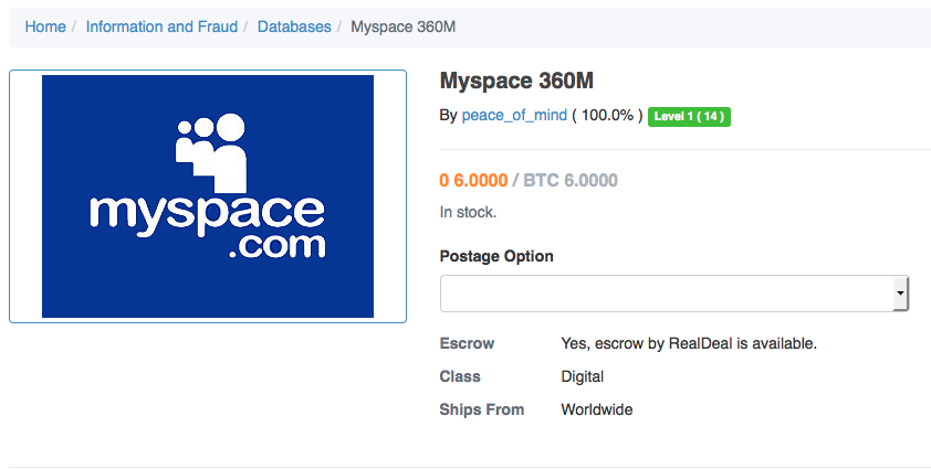 Hacker Tries To Sell 427 Milllion Stolen MySpace Passwords For