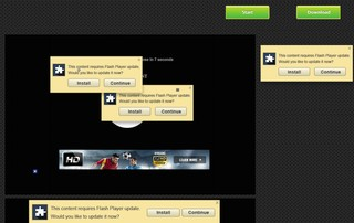 A screenshot of a number of very terrible popup ads on a sports streaming website
