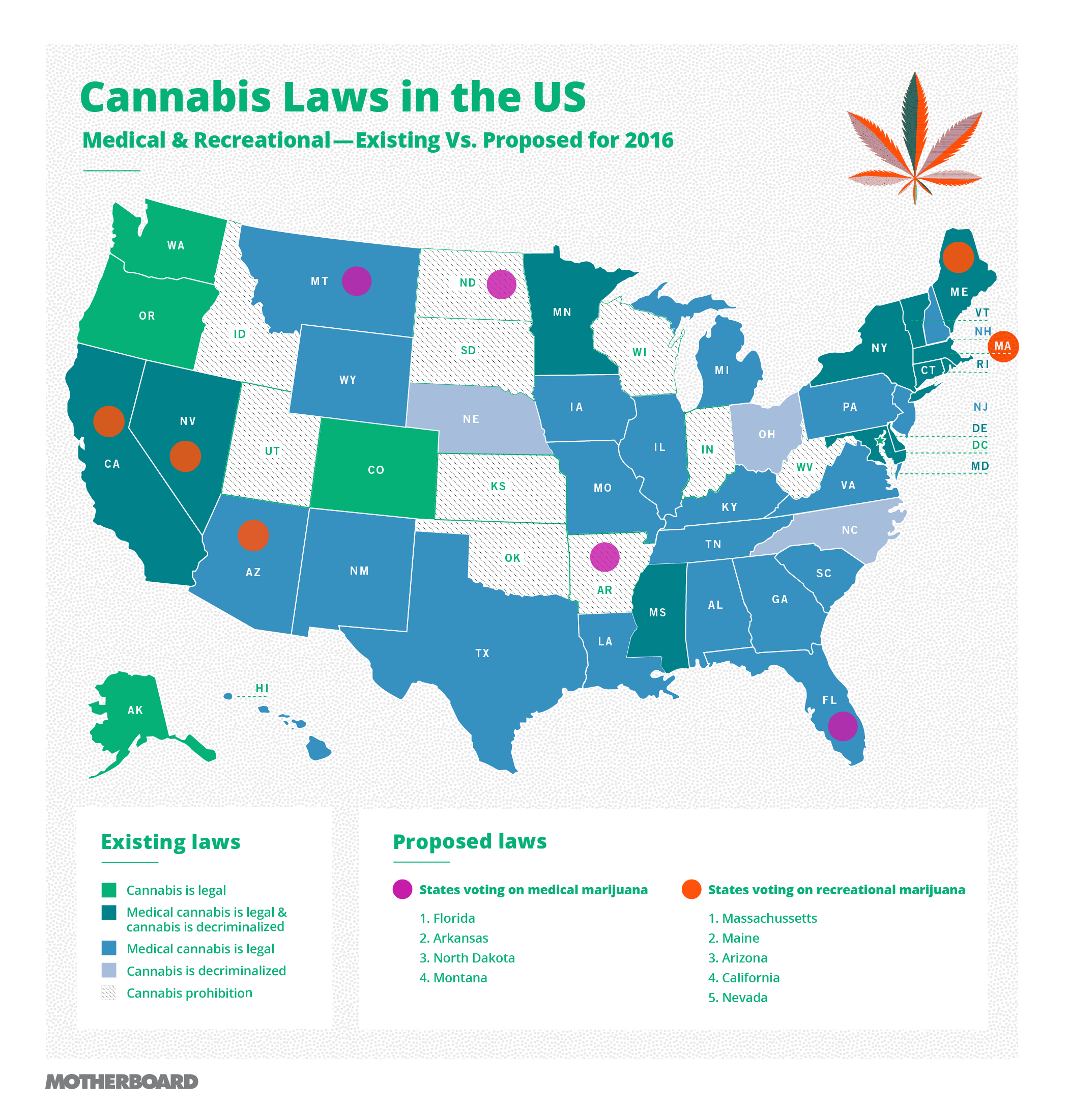 All the States Voting on Legalizing Recreational Marijuana in 2016