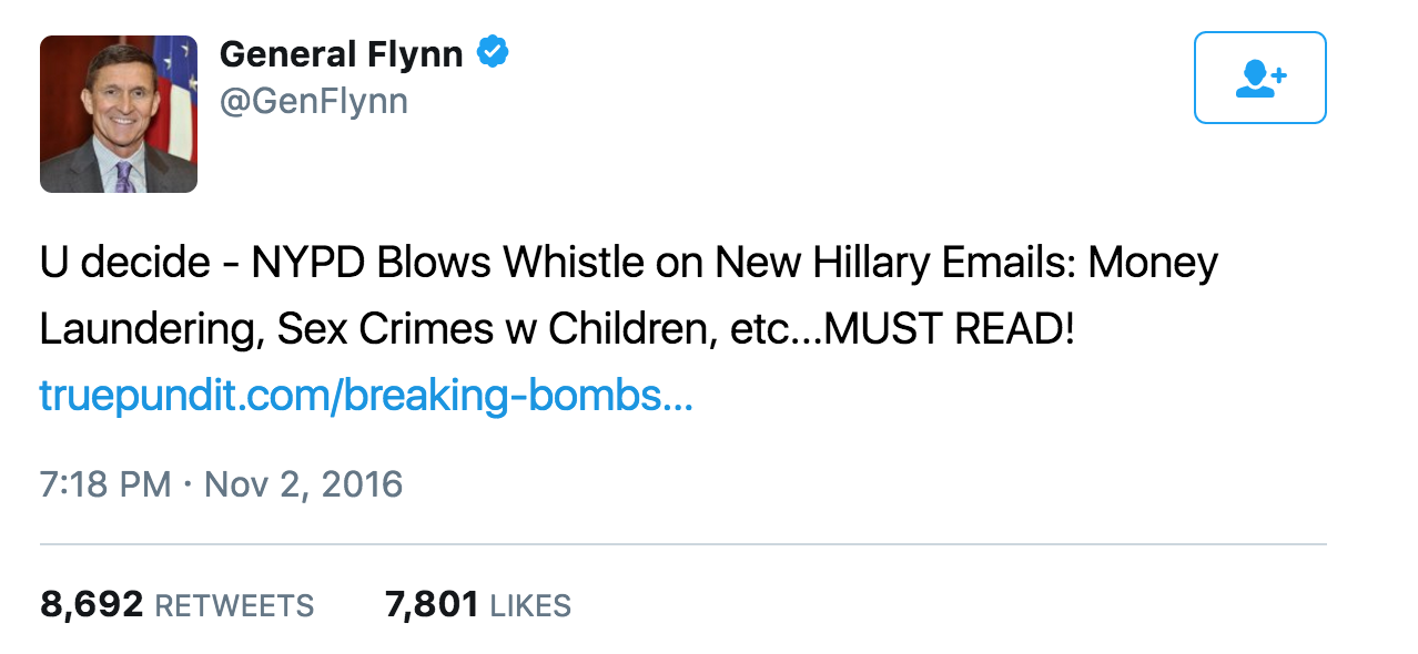 Image result for general flynn tweet pizzagate