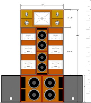 the wall of sound motherboard schematic of one of despacio s seven speaker arrays image john klett