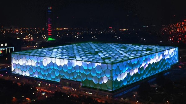 The Mood of the Chinese Internet Lights Up the Facade of Beijing's Water Cube