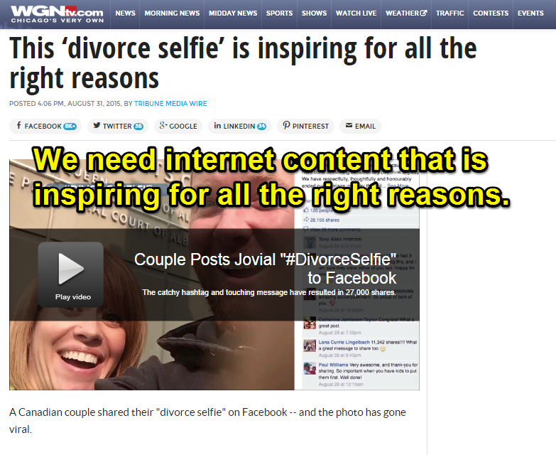 how content farms exploit uplifting memes like divorceselfie