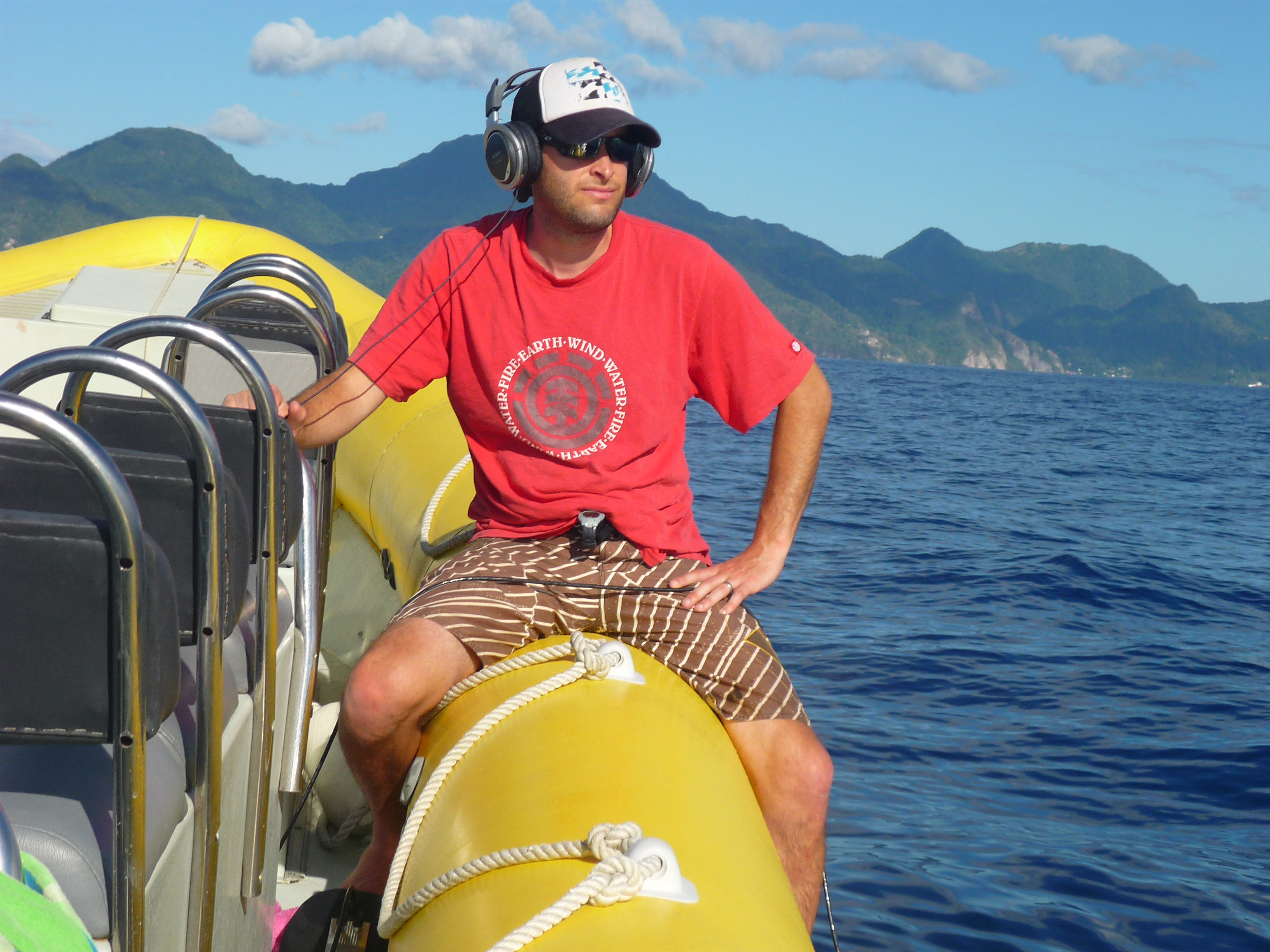 Shane Gero studies whales near the Caribbean island of Dominica. Image:  Dominica Sperm Whale Project